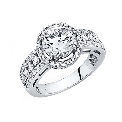 4mm 14K Engagement Ring White Gold 3.5ct Round Center and Round Side Stones Size 6 by Universal Jewels