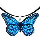 Sterling Silver Dichroic Glass Blue Butterfly Pendant Necklace on Stainless Steel Wire- 18""