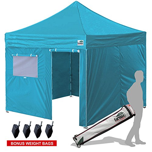Eurmax New Basic 10×10 Ez Pop Up Canopy Outdoor Canopy Instant Tent with 4 zipper Sidewalls and Roller Bag,Bouns 4 weight bags, Turquoise