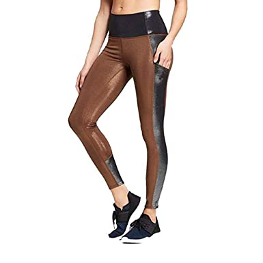 133ba42e25c752 JoyLab Women's 7/8 Shine Pieced High-Waisted Leggings Bronze at Amazon  Women's Clothing store: