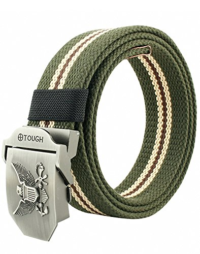 tary Style Smooth Buckle Outdoor Casual Belt 50 Inch (Eagle) (Large Eagle Belt Buckle)