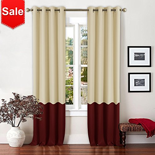 NICETOWN 2 Tones Blackout Draperies Curtains - Easy Care Mix