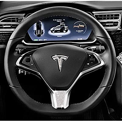 Be A Blinger Tesla Auto Accessory Steering Wheel Crystal Badge Bling T Logo Decal Handmade Rhinestone Emblem Decoration Cover Car Sticker Trim Holiday Gift Box for Tesla Model X (Bottom Crystal Badge): Automotive
