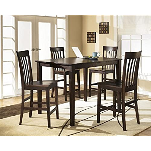 Ashley Hyland D258 223 5 Piece Dining Room Set With 1 Counter Height Table And 4 Bar Stools In Reddish