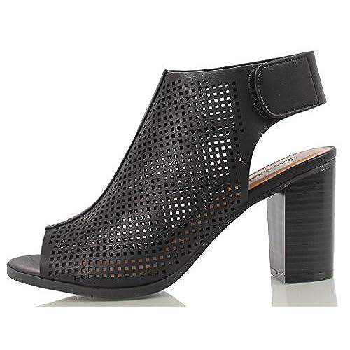 547df2edded durable modeling Peep Toe Ankle Strap Sandal – Western Bootie Low Stacked  Heel Open Toe Cutout