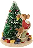 "Department 56 Heart of Christmas ""Mice Decorating Christmas Tree"" Stone Resin Figurine, 4.33"""