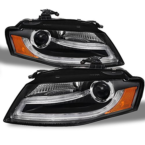 For 2009-2012 Audi A4 A4-Quattro Sport Sedan Wagon Black Bezel DRL LED Tube Strip Projector Headlights Lamps Left+Right