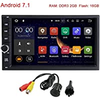 FreeNavi Standard Double 2 Din Android 7.1 In Dash Car Stereo Radio Quad Core GPS Navigation Support 4G 3G WIFI Bluetooth Mirrorlink SWC Dual Cam-IN with FREE Rear Camera External Microphone
