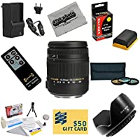 Sigma Super Zoom 18-250mm f/3.5-6.3 DC Macro OS HSM (Optical Stabilizer) 883-101 Lens With 3 Year Extended Lens Warranty For the Canon EOS 7D 60D 60Da 70D DSLR Digital Camera includes 3 Piece 62mm Pro Filter Kit (UV, CPL, FLD) + Replacement Battery Pack for the Canon LP-E6 LPE6 2600MAH + 1 Hour AC/DC Battery Charger + Remote Control + Deluxe Lens Cleaning Kit + LCD Screen Protectors + Mini Tripod + 47stphoto Microfiber Cloth Photo Print Benefits Review Image