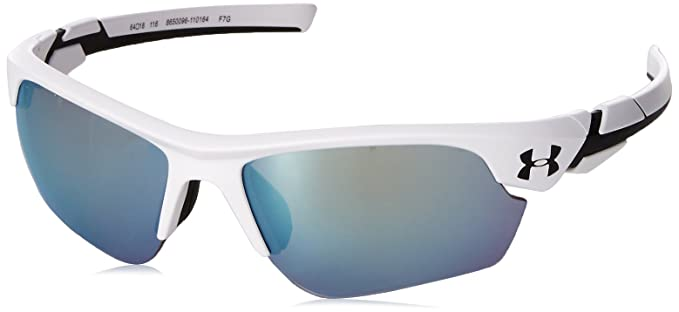 550748d30161 Under Armour UA Windup Wrap Sunglasses, UA Windup Satin White/Black  Frame/Baseball Tuned Lens, YOUTH: Amazon.co.uk: Clothing