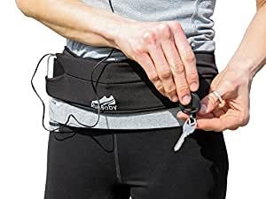 Running Belt - Best for Exercise/ Workout - Waterproof, Machine Washable/ Dryable - Expandable, Adjustable & Reflective - Great for Biking, Hiking, Outdoor Activity And Travel - 100% Guaranteed (black)