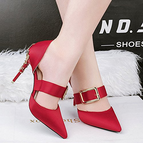 primavera mujeres alto de Zapatos de alto Zapatos de Zapatos color verano y tacón de tacón sólido metal de Office de de Zapatos ligera boca colo Street Rojo de de Botón para de variedad Una alto moda tacón qwFS8IS