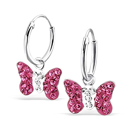 925 Sterling Silver Hypoallergenic Hot Pink Crystal Butterfly on Endless Hoop Earrings for Girls 22261