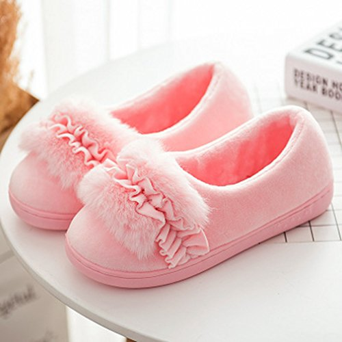 Indoor Sole House Pink Plush Outdoor GIY Slippers Slippers slip Soft Winter Warm Women's Fur Slippers Non x0CqpRw