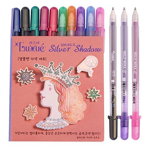 (Sakura Pgb10c55 (Luxue-gold Pearl) & (Silver Shadow-silver Pearl) 10-piece Gelly Roll Gel Ink Pen Set, 1.0 Mm, Assorted Colors)