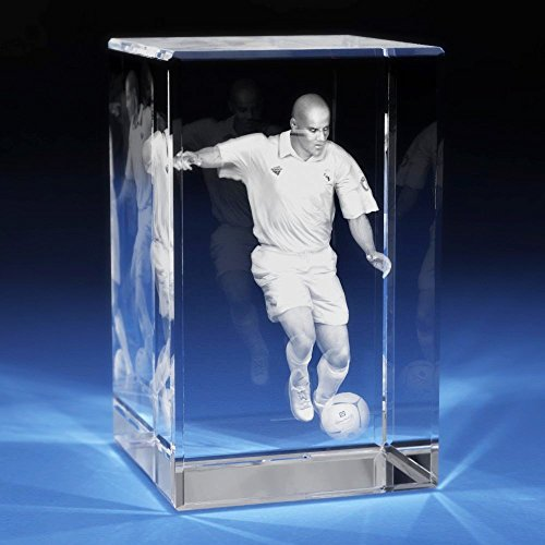 3D Laser Crystal Glass Etched Engraving Gifts Soccer Player Portrait XXL Transperant Clear NEW by 3D Laser Gifts