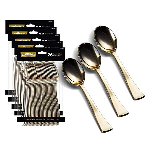 130 Gold Plastic Spoons | Heavy Duty Plastic Silverware Spoons | Fancy Plastic Cutlery | Elegant Disposable Spoons Pack | Bulk Disposable Flatware | Plastic Utensils Set | Nice Disposable Silverware
