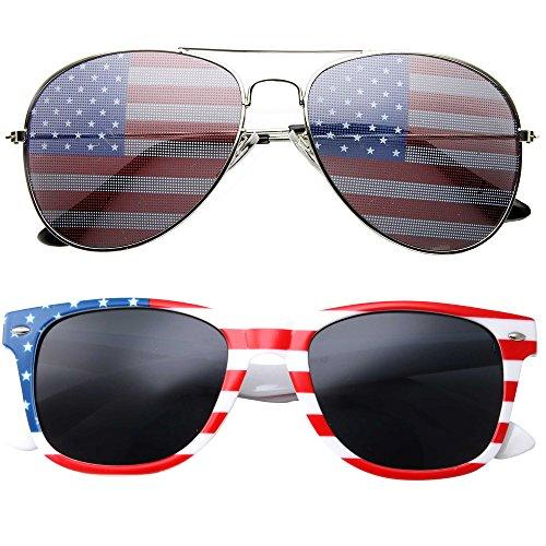 2 Pair Combo Patriotic American US Flag Sunglasses Bulk ()