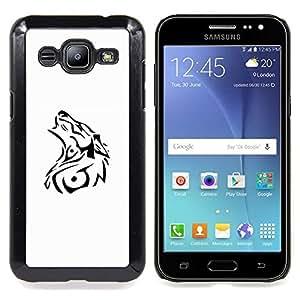 - Wolf Decal White Black Tattoo Minimalist/ Duro Snap en el tel????fono celular de la cubierta - Cao - For Samsung Galaxy J2