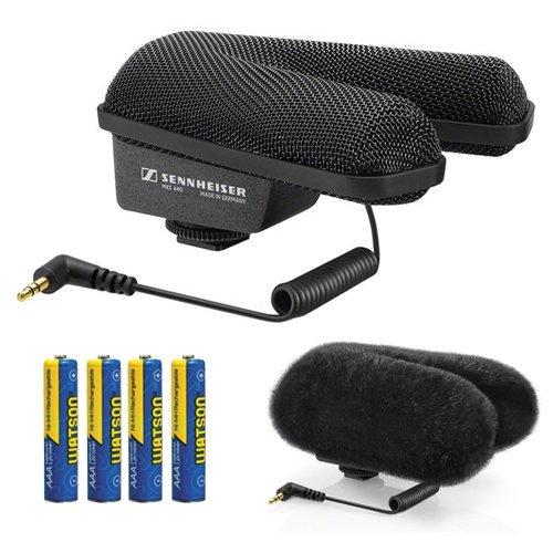 Sennheiser MKE 440 Stereo Shotgun Microphone Kit with Fur Windshield and Batteries
