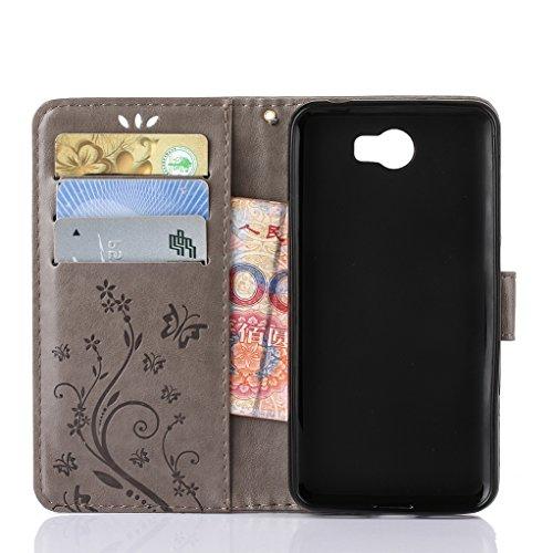 Trumpshop Smartphone Carcasa Funda protección para Huawei Y6 II + Gris + PU Cuero Caja Protector Billetera la Ranura la Tarjeta Choque Absorción [No compatible con Huawei Y6 y Y6 II Compact] Gris