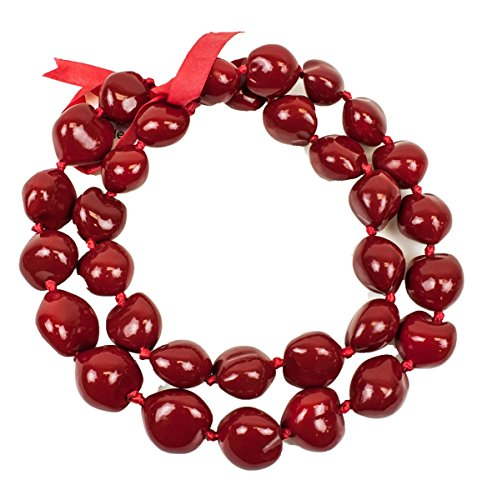 Barbra Collection Hawaiian Style Kukui Nut Lei Hand Painted Red 32 Nuts (Painted Nuts Kukui)