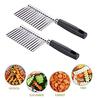 Crinkle Cutter Wavy Chopper Cut Knife - Stainless Steel Wavy Slicer - Wavy Vegetable - Cutter Potato Cucumber Carrot - Fruit And Vegetable Wavy Chopper Knife, 2 Pack