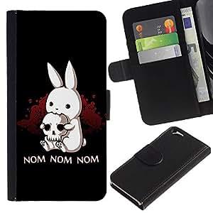 A-type (Nom Nom Nom divertido Killer Rabbit) Colorida Impresión Funda Cuero Monedero Caja Bolsa Cubierta Caja Piel Card Slots Para Apple (4.7 inches!!!) iPhone 6 / 6S