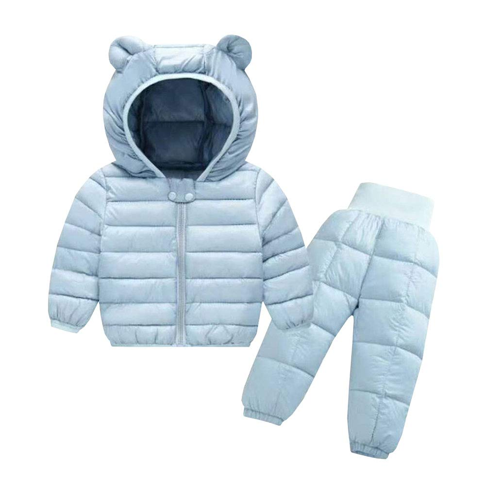 JINZFJG Infant Baby Boy's Girl's Solid Color Zipper Hooded Ultralight Snowsuit Puffer Down Jacket Set 2 Piece JIN-F9667