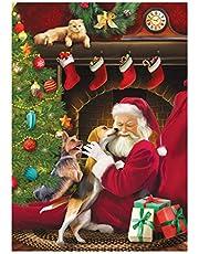 Square DIY 5D kerst Diamond Painting Schilderen op nummer Kit Kerstman en Hond 5d Vierkante Diamond Art Rhinestone Borduurwerk kerst Cross Stitch Kits Arts Craft Canvas Wall Decor Stickers 30x40 cm