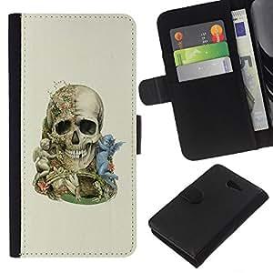 LECELL--Cuero de la tarjeta la carpeta del tirón Smartphone Slots Protección Holder For Sony Xperia M2 -- Ángel Calavera --