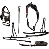 DELUXE HORSE PONY MINIATURE COMPLETE LEATHER DRIVING HARNESS SET PREMIUM QUALITY