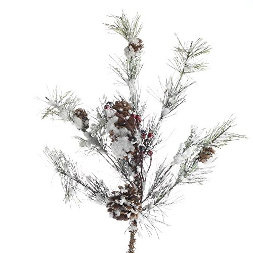 Factory Direct Craft Pair of Snowy Artificial Pine and Red Berry Branches for Holiday and Home Decor