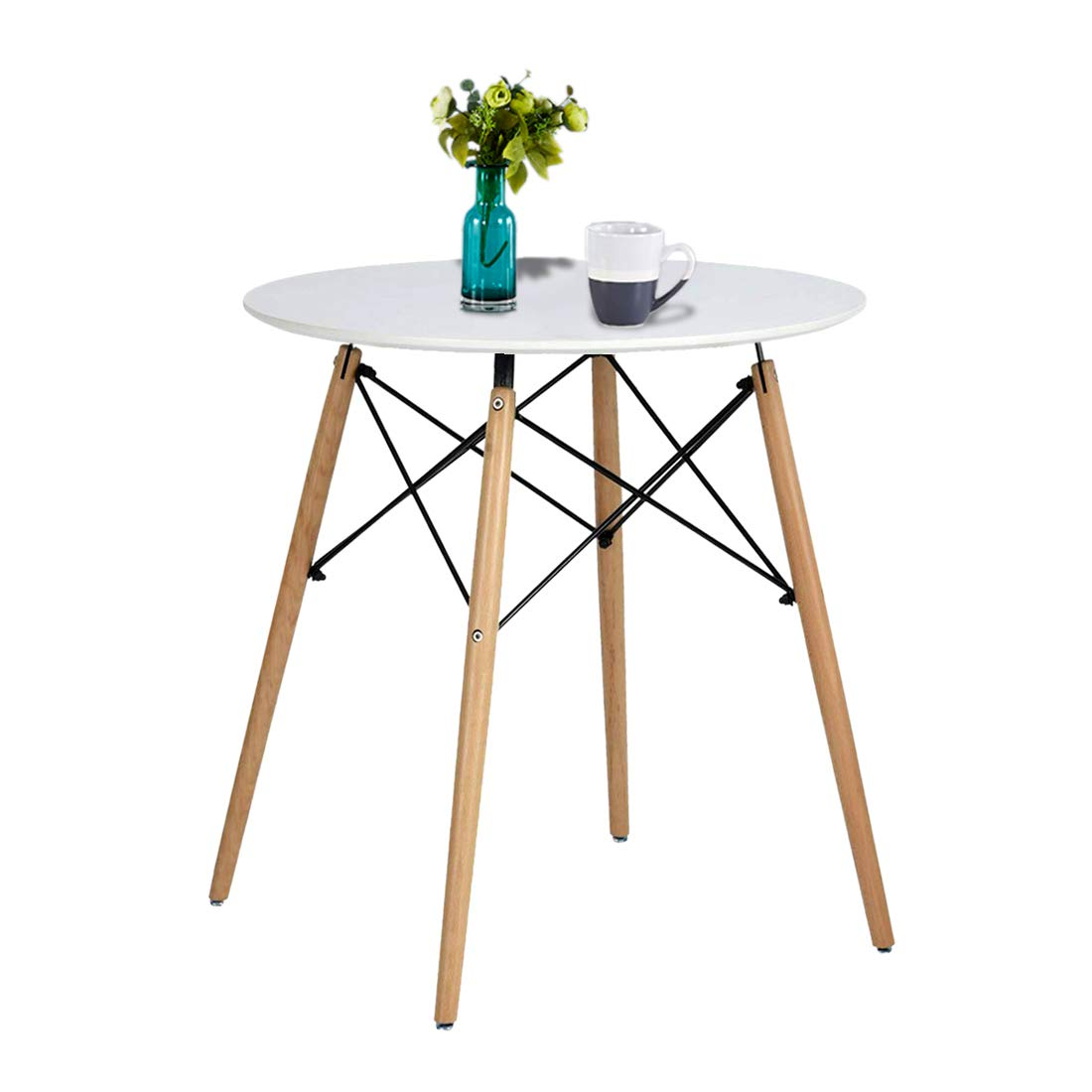 Artwell Kitchen Dining Table Eames Style White Round Coffee Table Mid Century Modern Leisure Wood Tea Table Office Conference Pedestal Desk (Small Size-Diameter 23.6'')