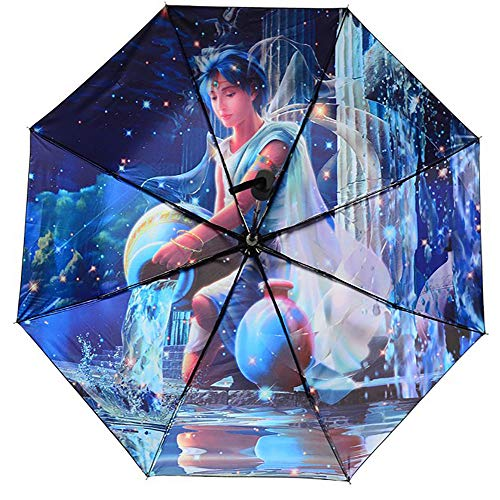 CHUANG TIANG Travel Umbrella, Lightweight Compact Parasol Creative Constellation Umbrella with 99% UV Protection for Sun & Rain,Aquarius