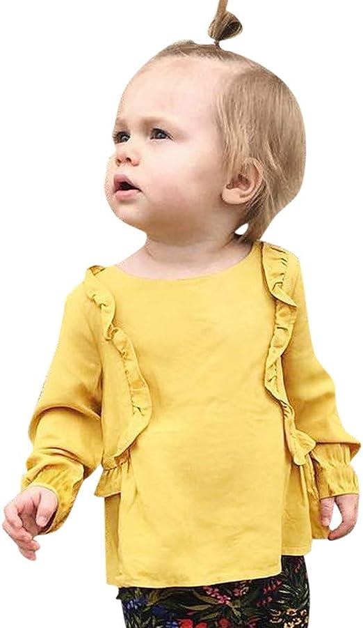 MAYOGO Blusa Bebe Niña Manga Larga Volantes Blusa Bebe Amarilla Otoño 0-4 Años Ropa Bebe Niña Camiseta Bebe Amarillo Manga Larga Tirantes Top para Bebe Chica Invierno: Amazon.es: Ropa y accesorios