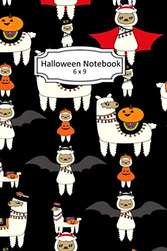 Skeleton Halloween Clipart (Halloween Notebook: Halloween Llama Clip Art Images on 6 x 9 Blank Lined Softcover Journal for Notes , Halloween Gift Design Cover Note)