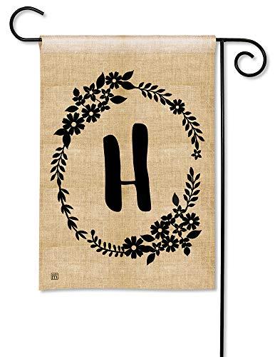 BreezeArt Studio M Rustic Monogram H Decorative Letter Burlap Look Garden Flag - Premium Quality, 12.5 x 18 Inches]()