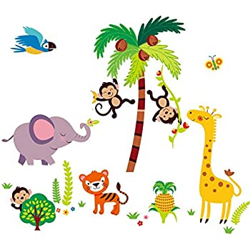 Amazoncom In The Jungle Wildlife Animal Stickers Wall Decals - Nursery wall decals animals