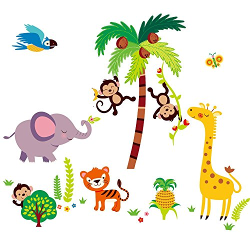 Giant Nursery/kids Room Wall Sticker Decals - Tumble in the Jungle Monkeys Stickers ()