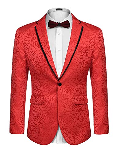 COOFANDY Men's Rose Floral Suit Jacket Blazer Weddings Prom Party Dinner Tuxedo (XXL, Red) -