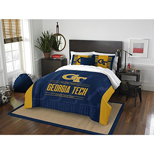 Georgia Tech Queen - 3 Piece NCAA Georgia Tech Yellow Jackets Comforter Full/Queen Set, Sports Patterned Bedding, Featuring Team Logo, Fan Merchandise, Team Spirit, College FootBall Themed, Blue Yellow, Unisex