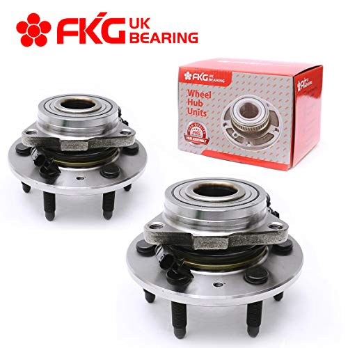 FKG 515096 Front Wheel Hub and Bearing Assembly - 4WD Only Fit for Cadillac Escalade ESV EXT Chevrolet Avalanche Silverado Suburban Tahoe GMC Sierra Yukon Base XL 1500 AUQDD 6 Lugs W/ABS, Set of 2