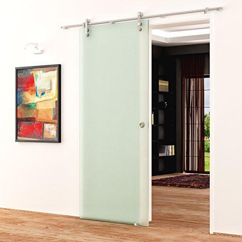 Correderas de cristal de puerta de 1025 x 2050 mm satinado opaca Levidor de acero inoxidable-sistema completo con abierto en ruedas y concha de asas de puerta corredera de vidrio para uso
