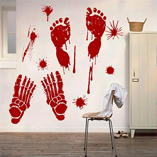 EWQHD Bloody Blood Footprints Ghost House Window Windows and Doors Living Room Halloween Wall Decorative Wall Stickers