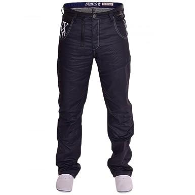 0cb9c6608f44 Reluctant Hero Mens Blue Coated Straight Leg Denim Jeans  Amazon.co.uk   Clothing