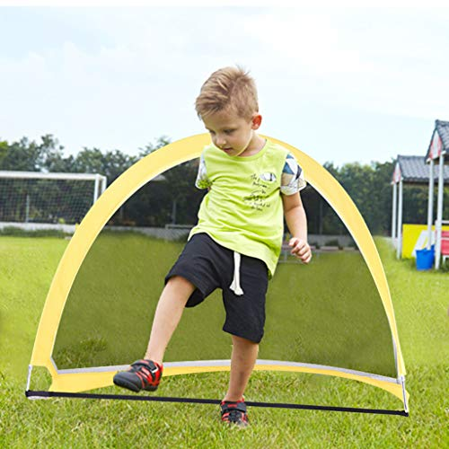 Pop Up Soccer Goal, 2 Piece Portable Training Futsal Football Goal Boxed Set with Carry Bag, Football, Inflator, 4 Hardcore to Fixed The Goal (Yellow-Black) (Best Futsal Skills And Goals)