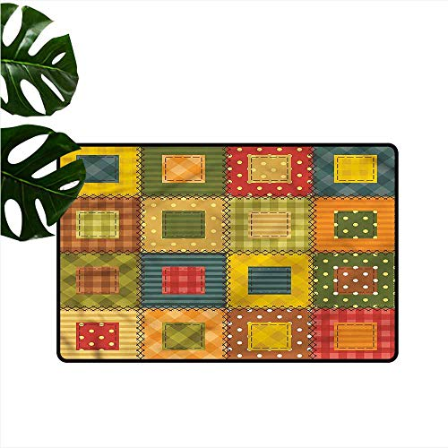HOMEDD Non Slip Doormat,Cabin Geometrical Traditional Quilt,with No-Slip Backing,35