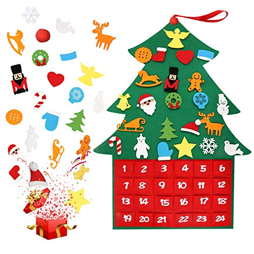 Kekilo Felt Christmas Tree Ornaments Advent Calendar Set, 2019 Newest DIY Xmas Countdown Decorations Wall Door Hanging Gift for Kids