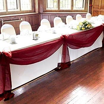 Vlovelife 33ft burgundy sheer organza top for Amazon wedding decorations